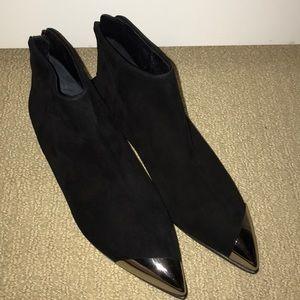 Miu Miu Black Suede Ankle Boots Silver Tip